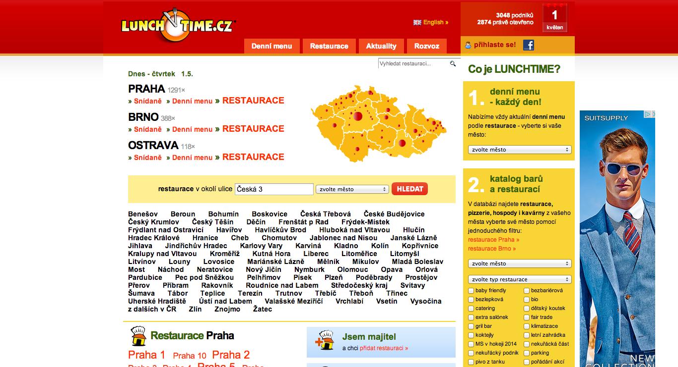 Původní verze Lunchtime.cz