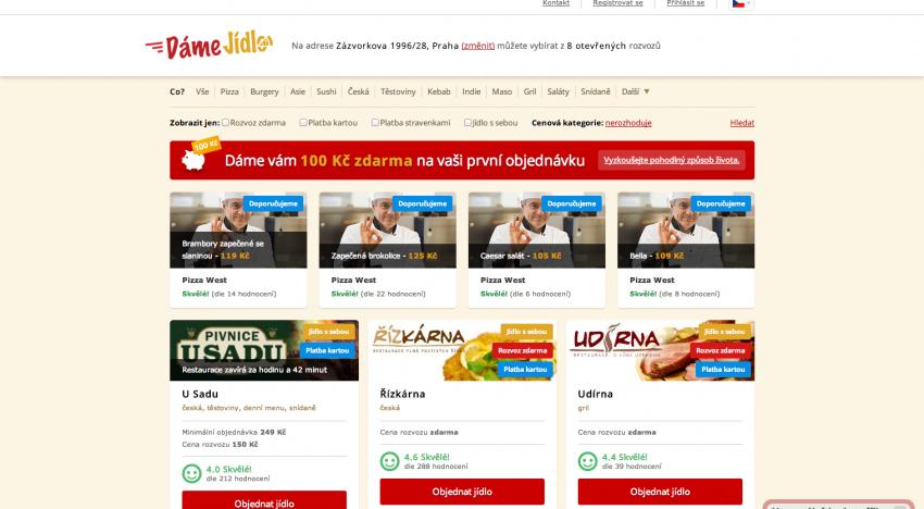 DámeJídlo.cz nabízí rozvoz už z více než 700 restaurací