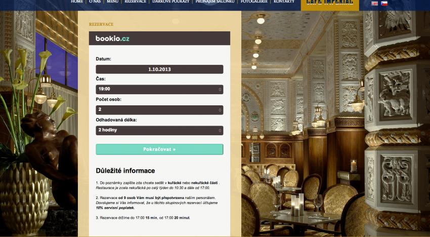 Bookio.cz za 3 měsíce zprostředkovalo podniku Café Imperial 1500 rezervací