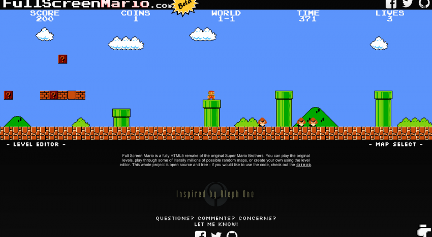Původní Super Mario Bros v prohlížeči