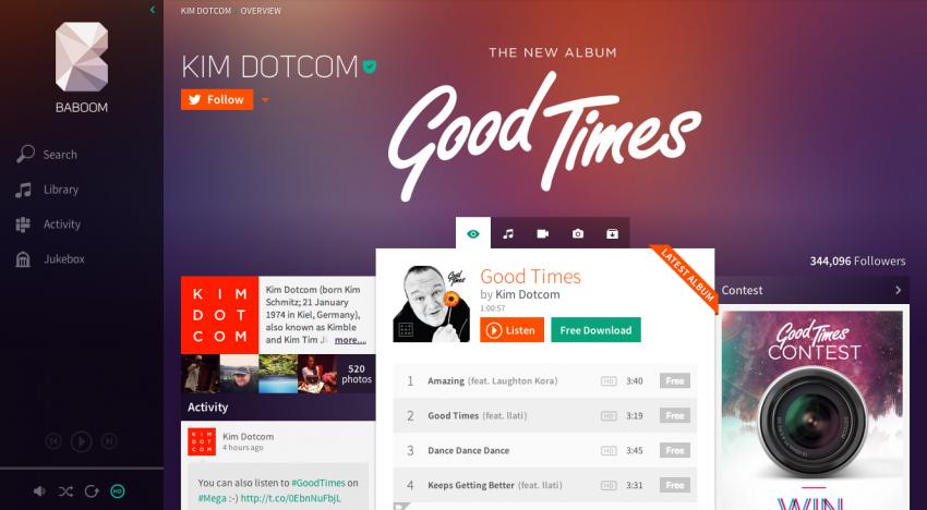Takhle vypadá Baboom… nová hudební služba od Kima Dotcoma
