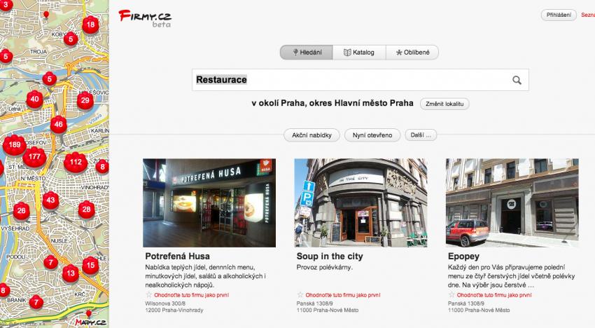 Jak budou vypadat nové Firmy.cz od Seznamu? Podívejte se na právě zpřístupněnou betaverzi