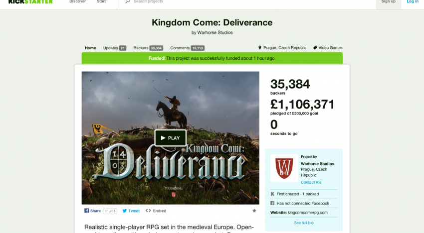 České herní studio Warhorse nakonec na Kickstarteru vybralo téměř 37 milionů korun