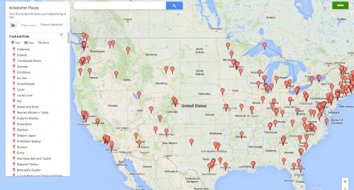 Díky Kickstarteru v Americe vzniklo už více než 320 restaurací. Tady je jejich mapa