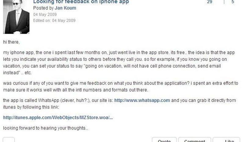 Takhle před 5 lety vznikla dnes miliardová aplikace WhatsApp
