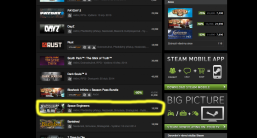 Česká indie hra Space Engineers osmou nejprodávanější na Steamu