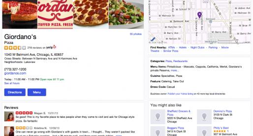 Yahoo dnes implementovalo Yelp do svého vyhledávání