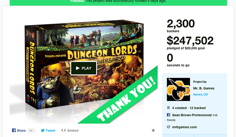 Dungeon Lords Anniversary Edition by Mr. B. Games — Kickstarter