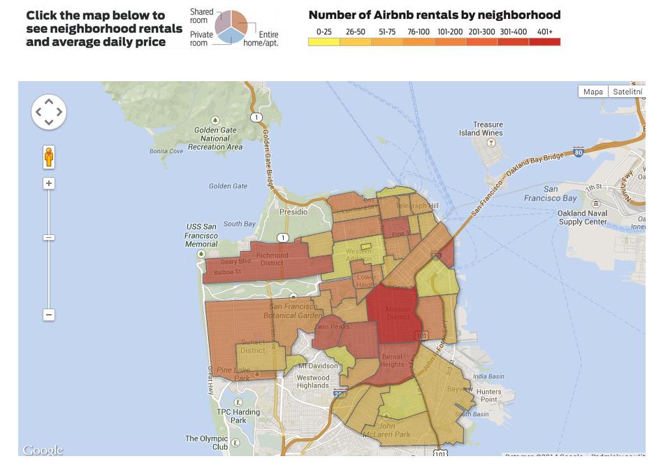 Jednotlivé čtvrti v San Franciscu seřazené podle množství nemovitostí nabízených přes Airbnb