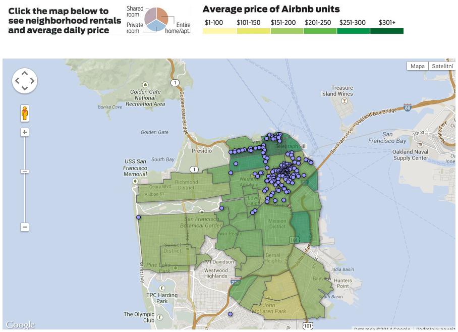 Čtvrti v San Franciscu seřazené podle ceny za noc u nemovitostí nabízených na Airbnb