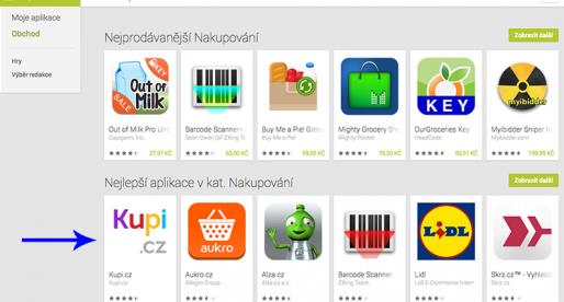 Kupi.cz pár dnů po spuštění nejlepší Android aplikací pro nakupování