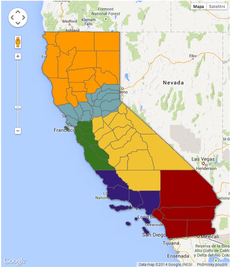 Kalifornie po plánovaném rozdělení (mapa via kqed.org): oranžová – Stát Jefferson, bledě modrá – Severní Kalifornie, zelená – Silicon Valley, žlutá  – Centrální Kalifornie, fialová – Západní Kalifornie, červená – Jižní Kalifornie