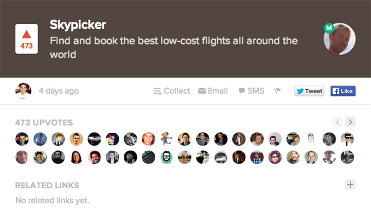 Brněnský Skypicker TOP1 na Product Hunt