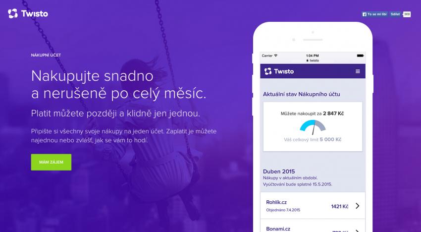 Platební startup Twisto.cz spouští mobilní nákupní účet s limitem až 20 tisíc Kč