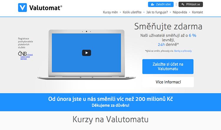 Valutomat.cz za 4 měsíce provozu zprostředkoval směny za 220 milionů korun