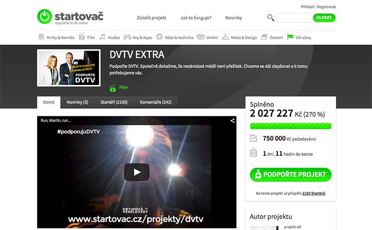 Populární internetová televize DVTV na portálu Startovač.cz vybrala přes 2 miliony Kč