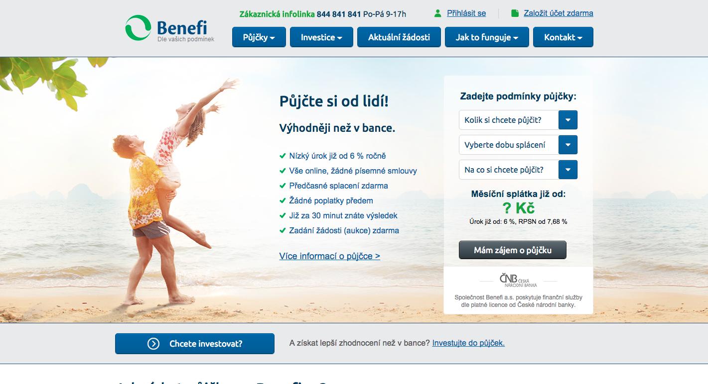 P2P půjčky Benefi, které byly uzavřeny pro nové investory a žadatele