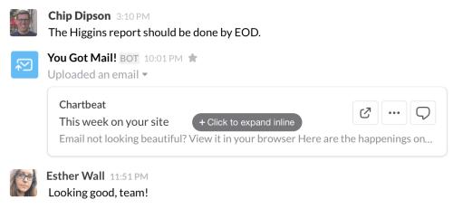 Náhled e-mailové zprávy ve Slacku