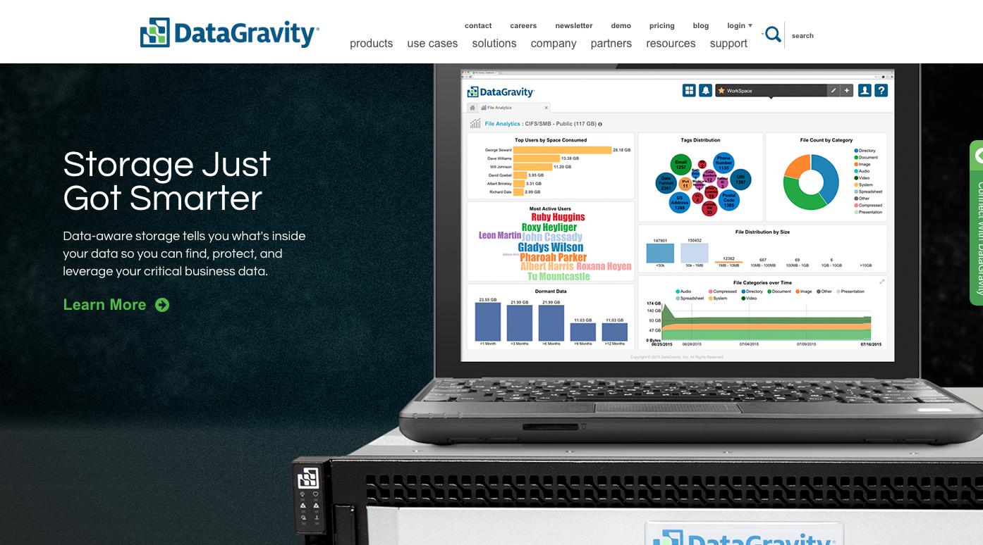 Hlavní strana DataGravity.com