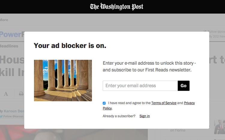 Velké zahraniční weby začínají agresivně bojovat s uživateli, kteří blokují reklamy. Jedním z nich je i Washington Post