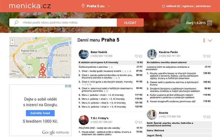 Obědový agregátor Meníčka.cz každoročně roste o 50% a nyní posiluje svůj tržní podíl