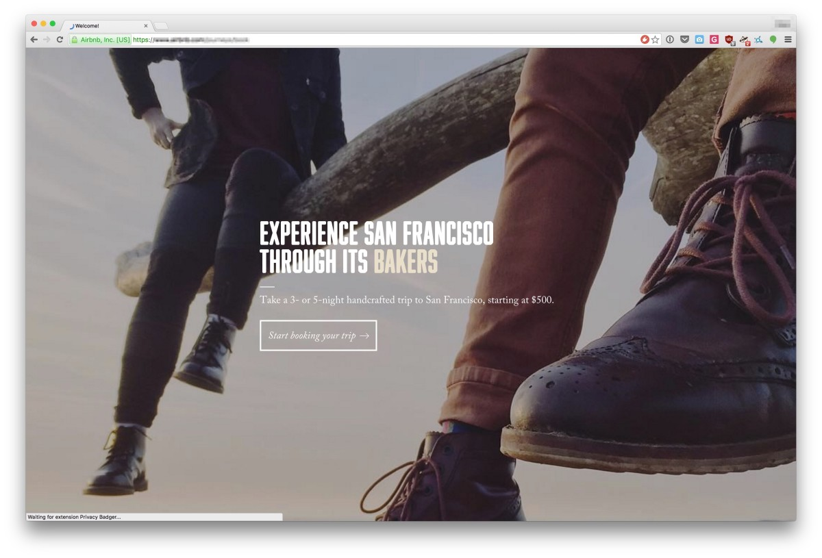 Náhled landing page Airbnb Journeys