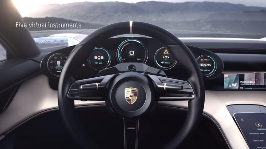 Takhle vypadá interiér nového elektromobilu od Porsche, který chce konkurovat Tesle (video)