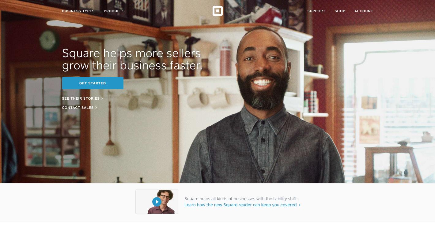 Homepage startupu Square