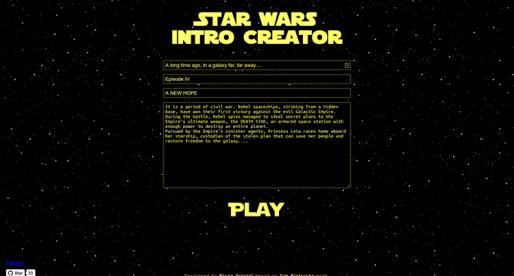 Tahle webová stránka vám umožní vytvořit si vlastní Star Wars Intro