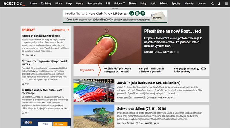 Populární portál Root.cz po 11 letech kompletně redesignoval