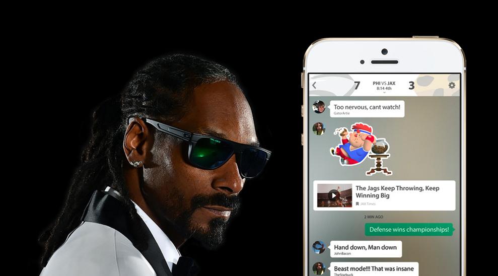 Snoop Dogg a jeho investice do sportovní chat aplikace GameOn v roce 2016.