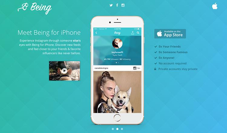 Being: aplikace, která vám ukáže, jak vypadá Instagram vaší oblíbené celebrity