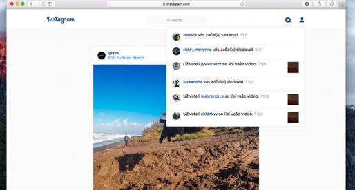 Instagram nově na webu zobrazuje už i notifikace