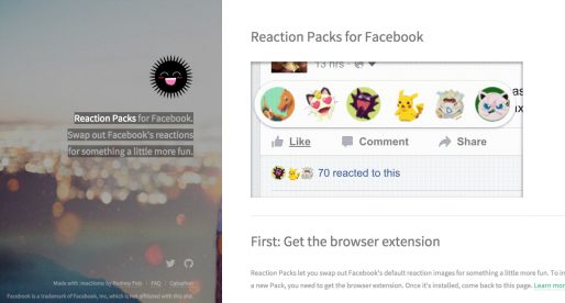 Díky tomuto rozšíření dostanou vaše reakce na Facebooku podobu Donalda Trumpa nebo Pokémonů
