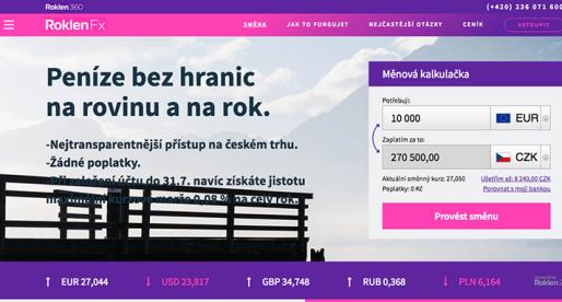 Česká fintech platforma RoklenFx pokořila hranici 500 milionů směněných korun