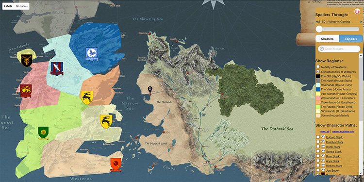 Tato interaktivní mapa vás detailně provede světem seriálu Hra o trůny