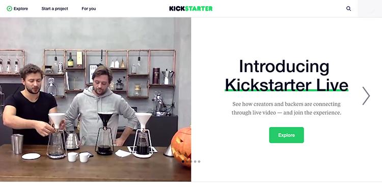 Kickstarter spouští službu Live, pomocí které je možné se v přímém přenosu spojit s tvůrci projektu