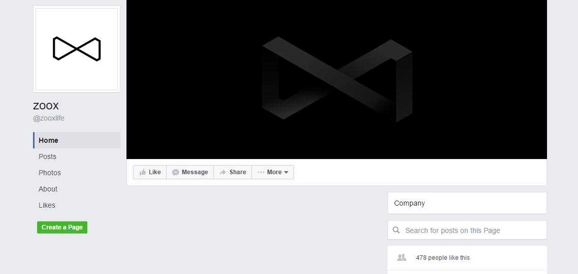 Facebooková stránka Zoox je úplně prázdná