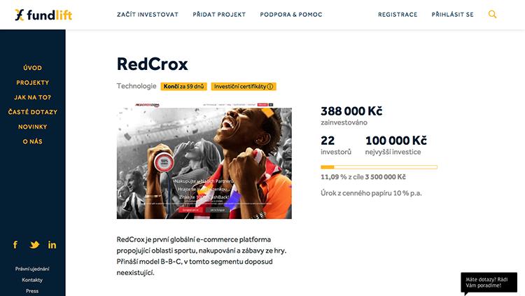 E-commerce platforma RedCrox chce na Fundlift.cz od lidí vybrat 3,5 milionu Kč