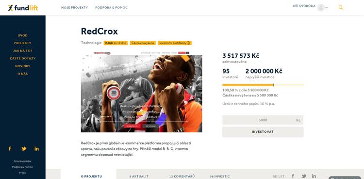 Česká platforma RedCrox získala na Fundlift.cz 3,5 miliony Kč a chce ještě více