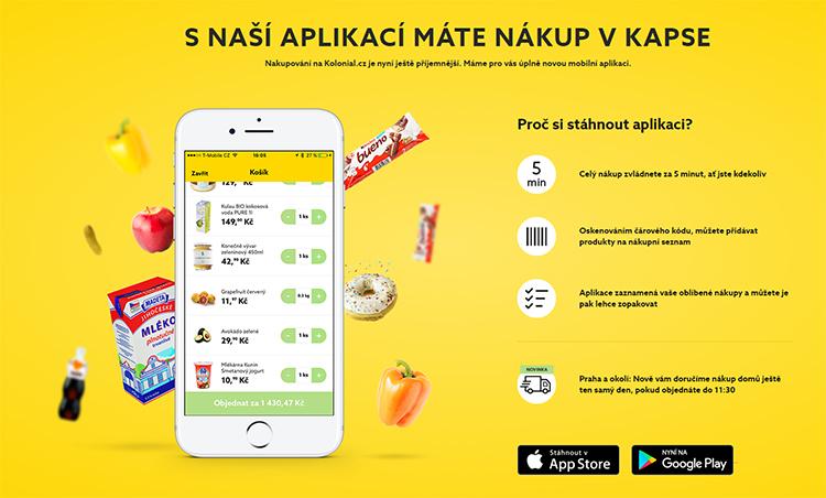 E-shop s potravinami Kolonial.cz představil mobilní appku pro iOS a Android