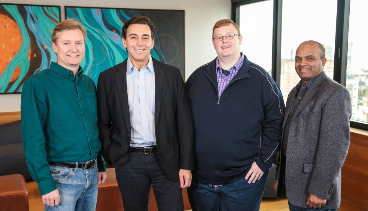 Zleva: Peter Rander (COO Argo AI), Mark Fields (CEO Ford), Bryan Salesky (CEO Argo AI), Raj Nair (EVP Ford)