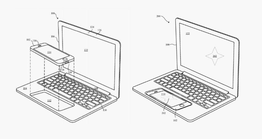 Podívejte se na patent Applu, který nahrazuje trackpad MacBooku slotem pro iPhone