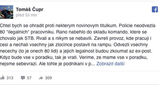 Cizinecká policie zasahovala v Rohlik.cz. Chovali se jak STB, píše Tomáš Čupr