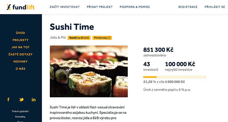 Sushi Time vybralo na crowdfundingovém portálu Fundlift.cz za pár hodin 850 tisíc Kč