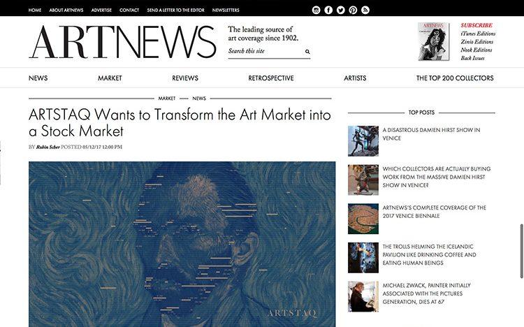 Český startup ARTSTAQ se objevil v nejprestižnějším art magazínu na světě