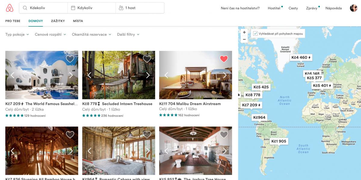 Platforma Airbnb na rezervaci krátkodobých ubytování a zážitků