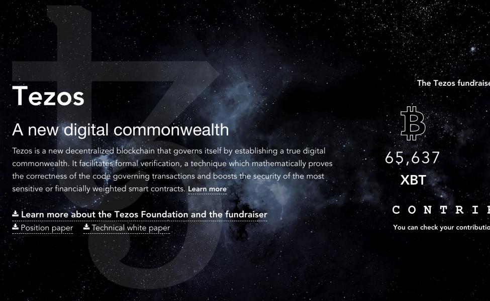 Původní web Tezos, ukazující množství vybraných prostředků