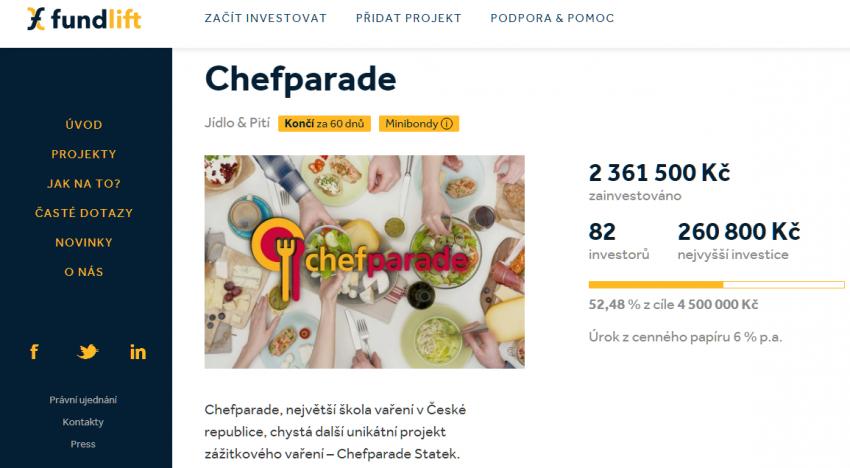 Na Fundlift vstupuje škola vaření Chefparade, která chce vybrat 4,5 milionů korun na rozjezd nového projektu