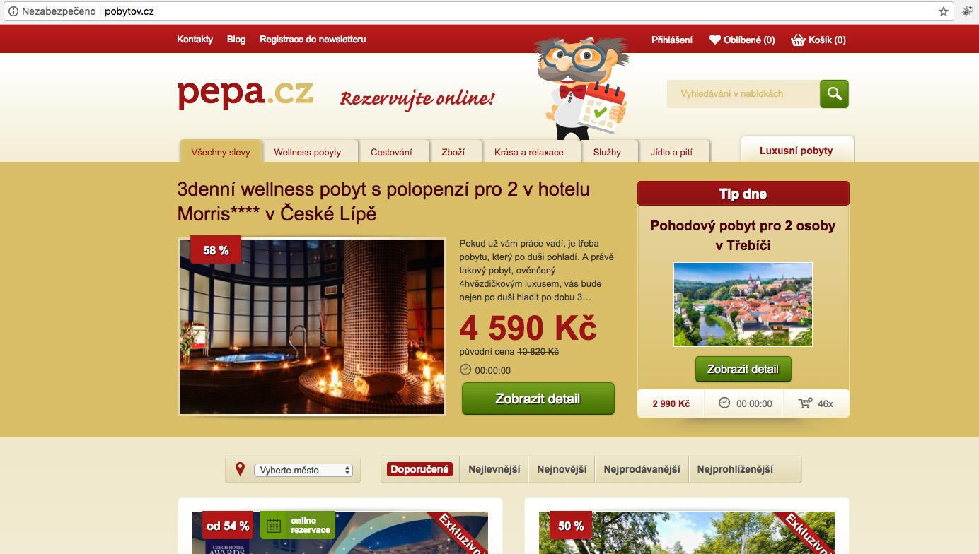 Portál Pepa.cz nyní funguje na doméně Pobytov.cz